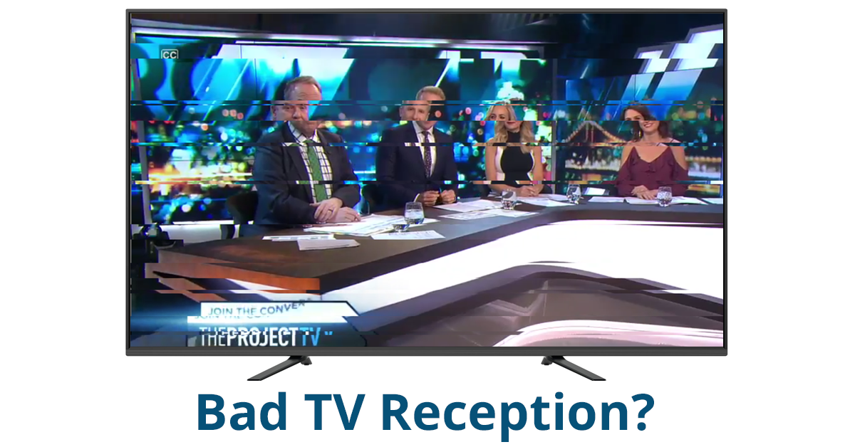 Example of TV picture distortion from a bad aerial